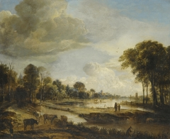 River landcape with figures and cattle
