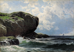Rocky Head with Sailboats in Distance