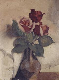Rozen in Baardman vaasje licht rose fond