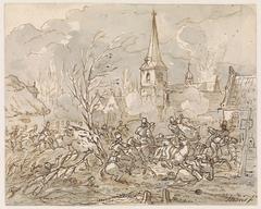 Ruitergevecht bij de inneming van een dorp