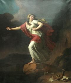 Sappho rushing to the sea