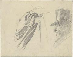 Schetsen van een schouder en een heer met hoge hoed