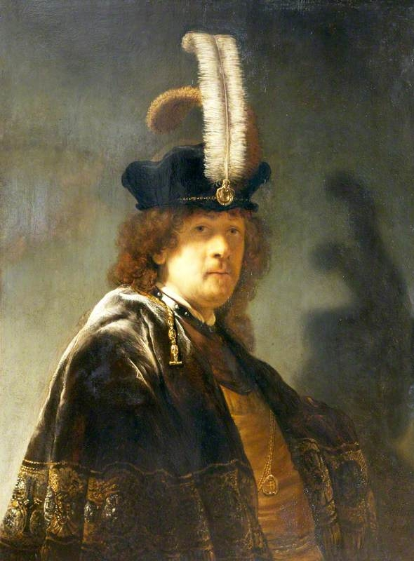 Self-portrait wearing a white feathered bonnet