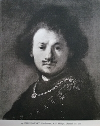 Self-Portrait with gold chain and moustache