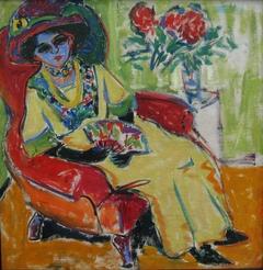 Sitzende Dame (Dodo) (Rückseite: Masken auf der Straße)