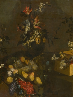 Still Life with Flower Bouquet and Fruit