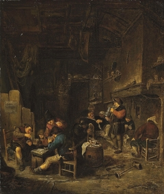 Tavern interior with peasants playing cards, smoking and drinking