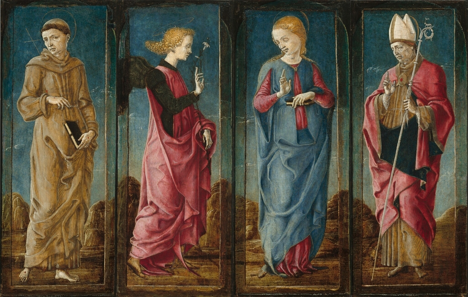 The Annunciation with Saint Francis and Saint Louis of Toulouse [four panels]