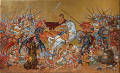 The fight of the lonely Greek warrior against all his enemies during the centuries