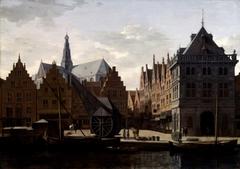 The Haarlem Damstraat seen from the Spaarne