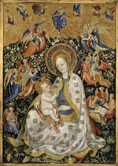 The Virgin and Child with Angels in a Garden with a Rose Hedge