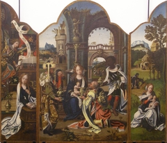 Triptych: Adoration of the Magi; Annunciation; Rest on the flight into Egypt