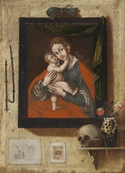 Trompe-l'œil Painting with a Miraculous Image of Mary, a Skull and Wall Mounted Engravings