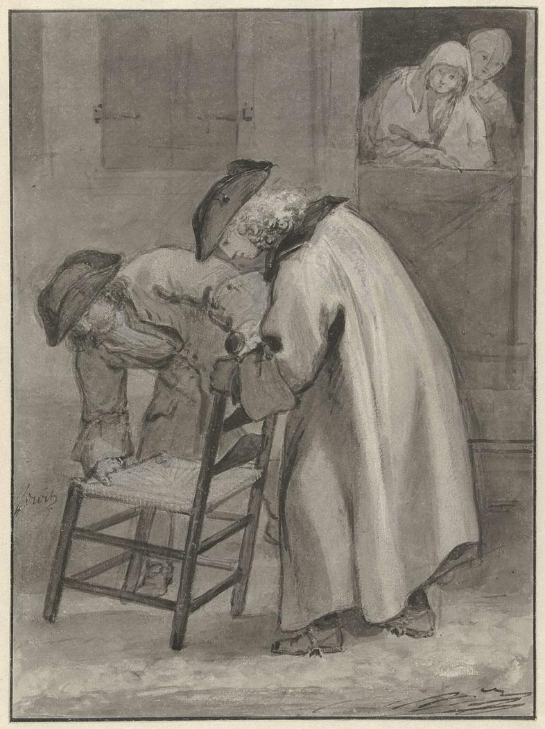 Twee mannen met steek op bekijken een matten stoel