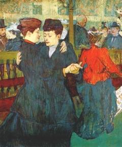 Deux femmes dansant au Moulin-Rouge