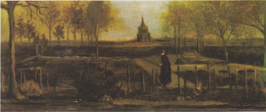 The rectory garden in Nuenen with female figure
