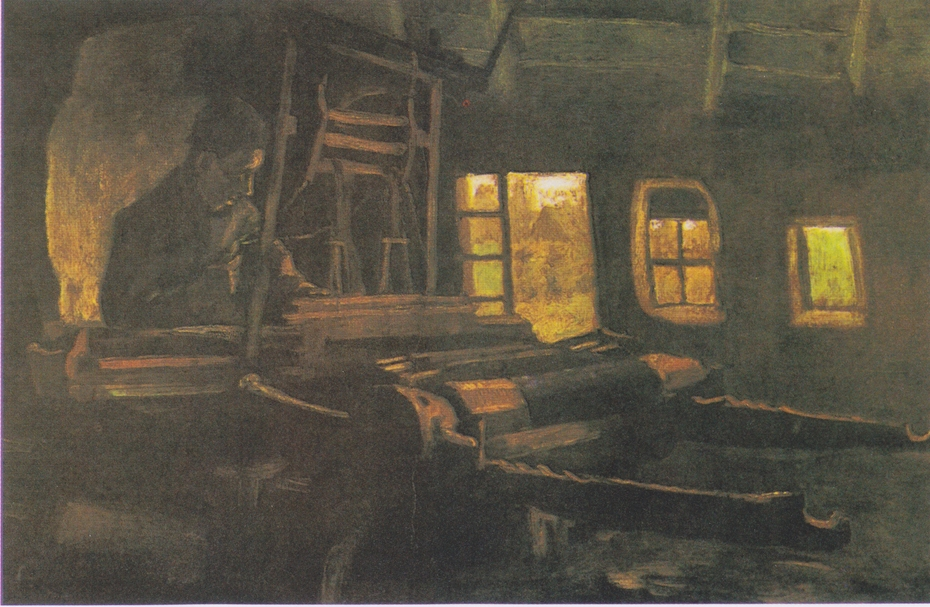 Weaver, in a room with three narrow windows