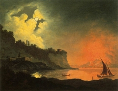 Vesuvius from Posillipo by Moonlight