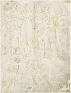 Vier vrouwen en Christus met de Samaritaanse