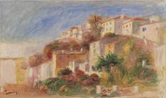 View from the Garden of the Post Office, Cagnes (Village vu du jardin de la poste, Cagnes)