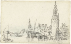 View of the Montelbaanstoren and the Tower of the Zuiderkerk in Amsterdam