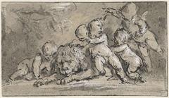 Vijf putti bij een liggende leeuw