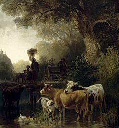 Wäscherin am Bach