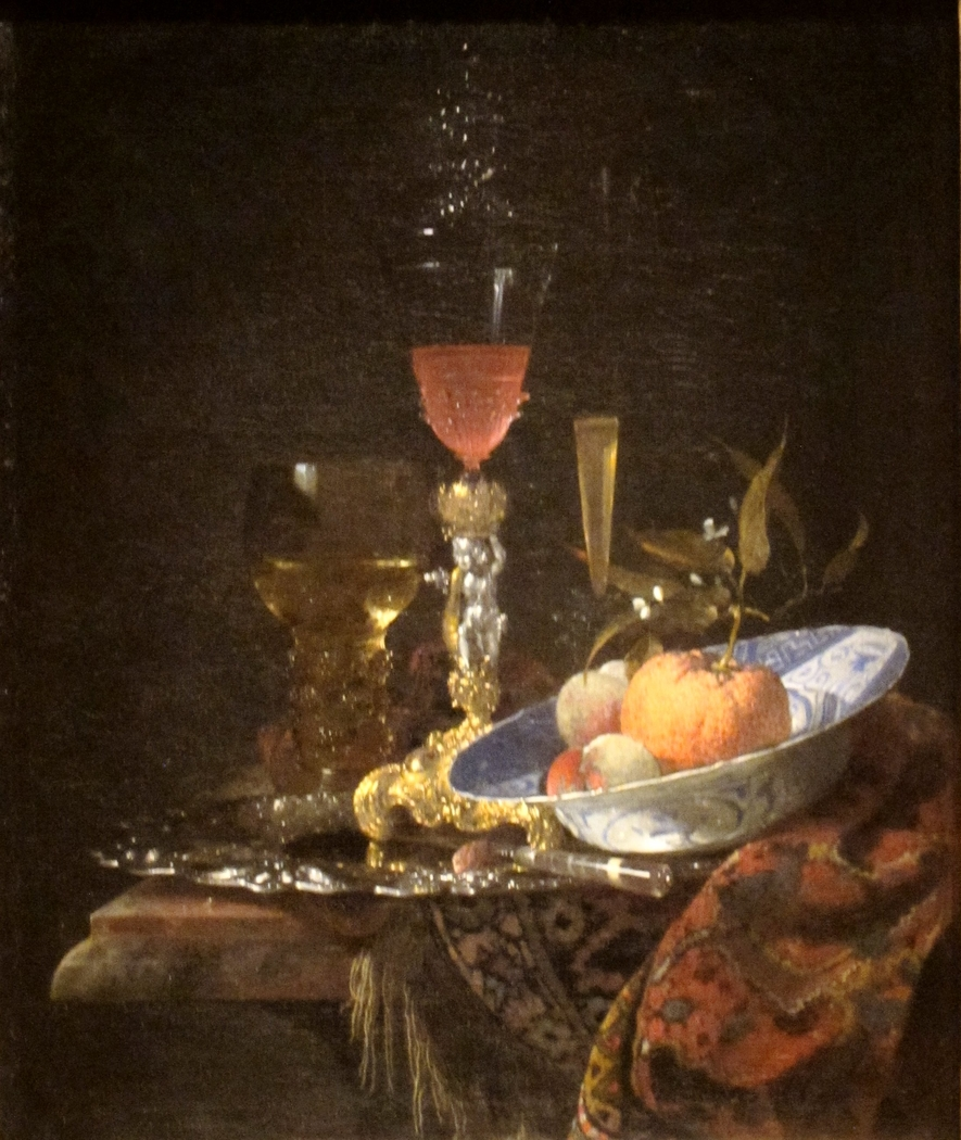 Wineglass and a Bowl of Fruit
