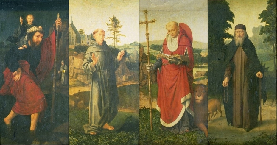 Wings of a Triptych with Saints Christopher, Francis, Jerome, Anthony