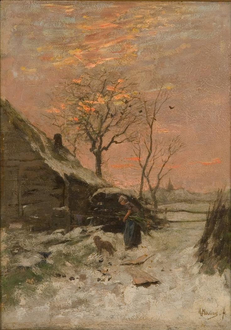 Winterlandschap (Boerderij met vrouw en hond in de sneeuw)