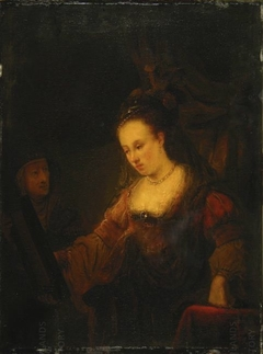 Woman looking in a Mirror with a Maidservant