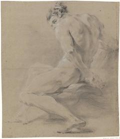 Zittend mannelijk naakt, het hoofd steunend met de rechterhand