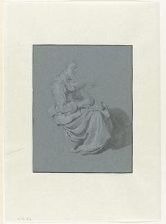 Zittende vrouw, in profiel naar rechts