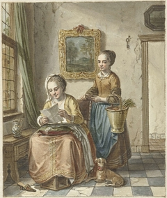 Zittende vrouw met dienstmeid, een brief lezend